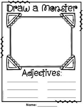 Draw An Adjective Monster Free Classroom Writing 2nd Grade Grammar Kindergarten Writing Nouns and adjectives worksheet ks1