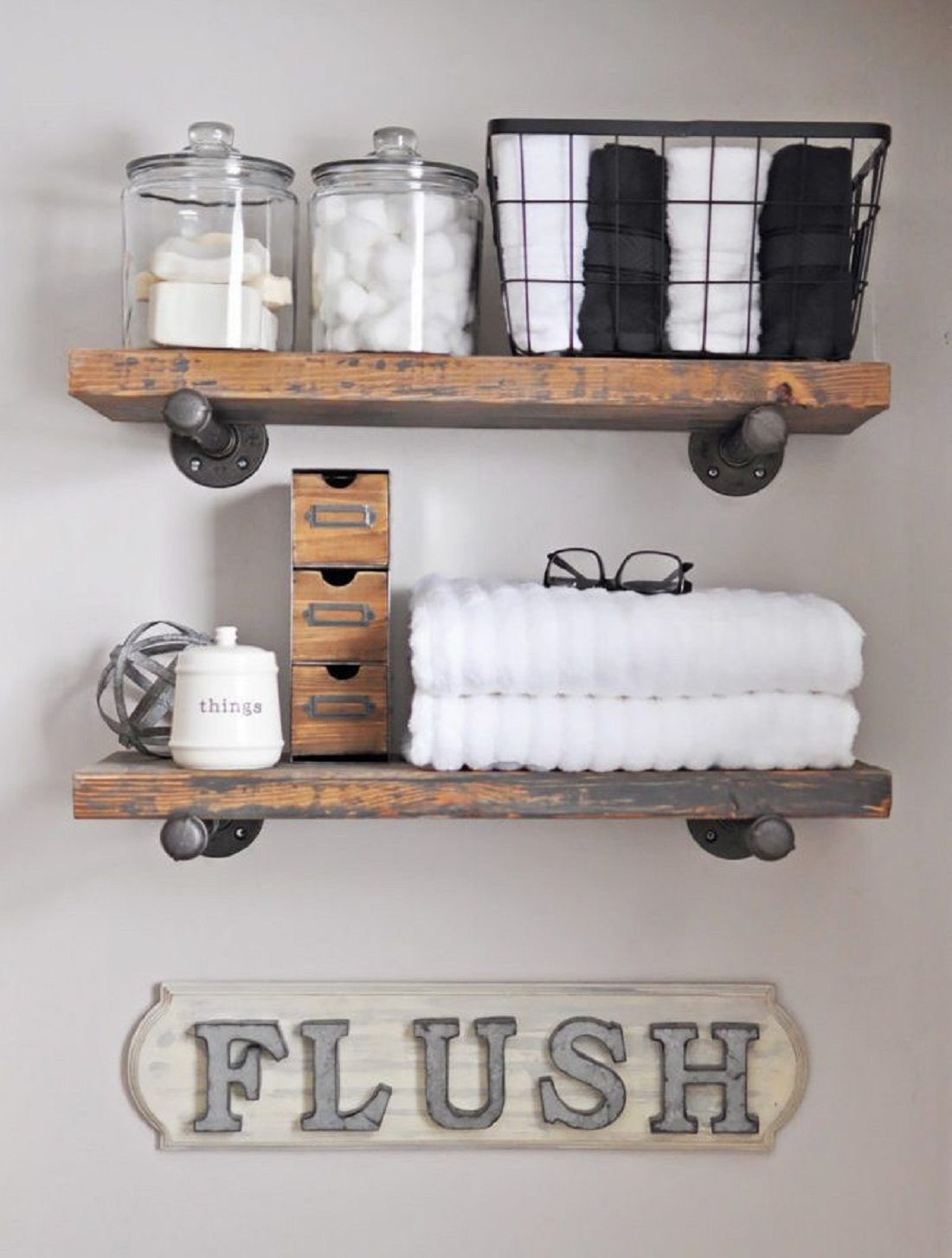 How To Make Diy Rustic Over The Toilet Shelf My Home Decor