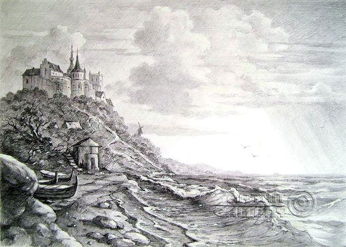 Pencil Drawings Drawing Castle At The Seaside Kulagin Oleg Landscape Pencil Drawings Pencil Drawings Landscape Sketch