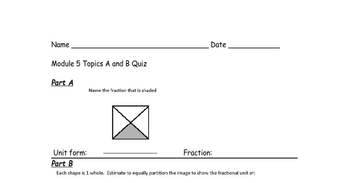 Eureka Math Quiz: Grade 3 Module 5 Topics A and B   Grade 3