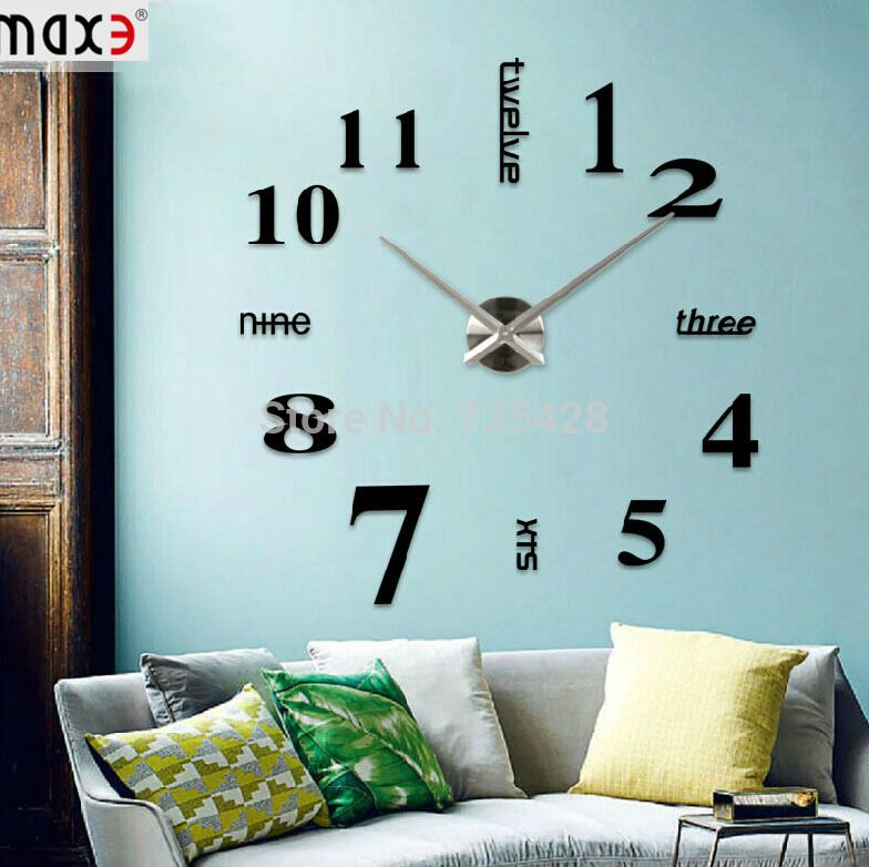 Find More Wall Clocks Information about 3D Large Mental Big Size Home Decor DIY Creative Personality Wall Clock For living Room Decal Decoration And Decent Crafts Gift,High Quality clock disc,China decorative kitchen wall clocks Suppliers, Cheap clock table from shenzhen Luomu Technology Ltd.  on Aliexpress.com