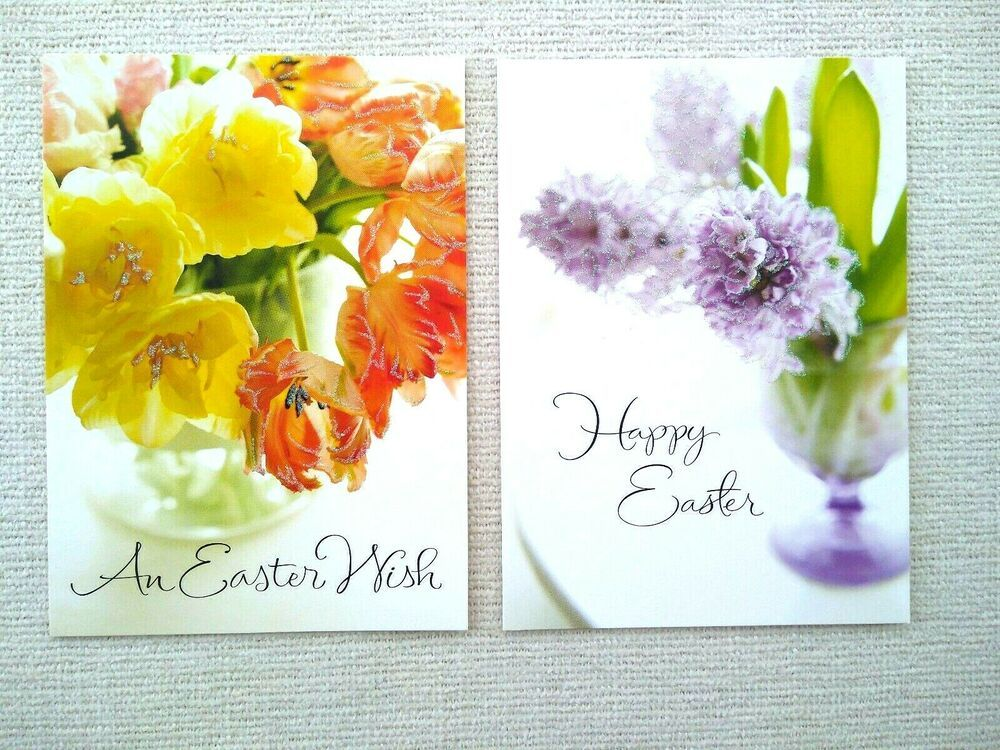 2 Unused EASTER Greeting Cards Note Cards Flower Lilac Tulip Glitter Hallmark #Hallmark #Easter