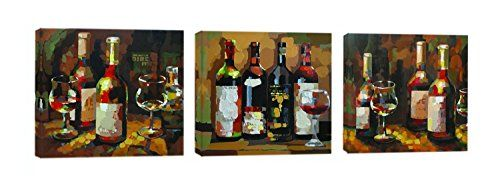 HLJ ART 3PcsSets Modern Wall Art Home Decor Giclee Prints Framed Artwork Oil Paintings Wine Pictures Photo Paintings Print on Canvas * Visit the image link more details.