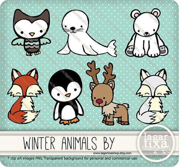 Winter Snow Animals Clip art Cute Owl Seal by