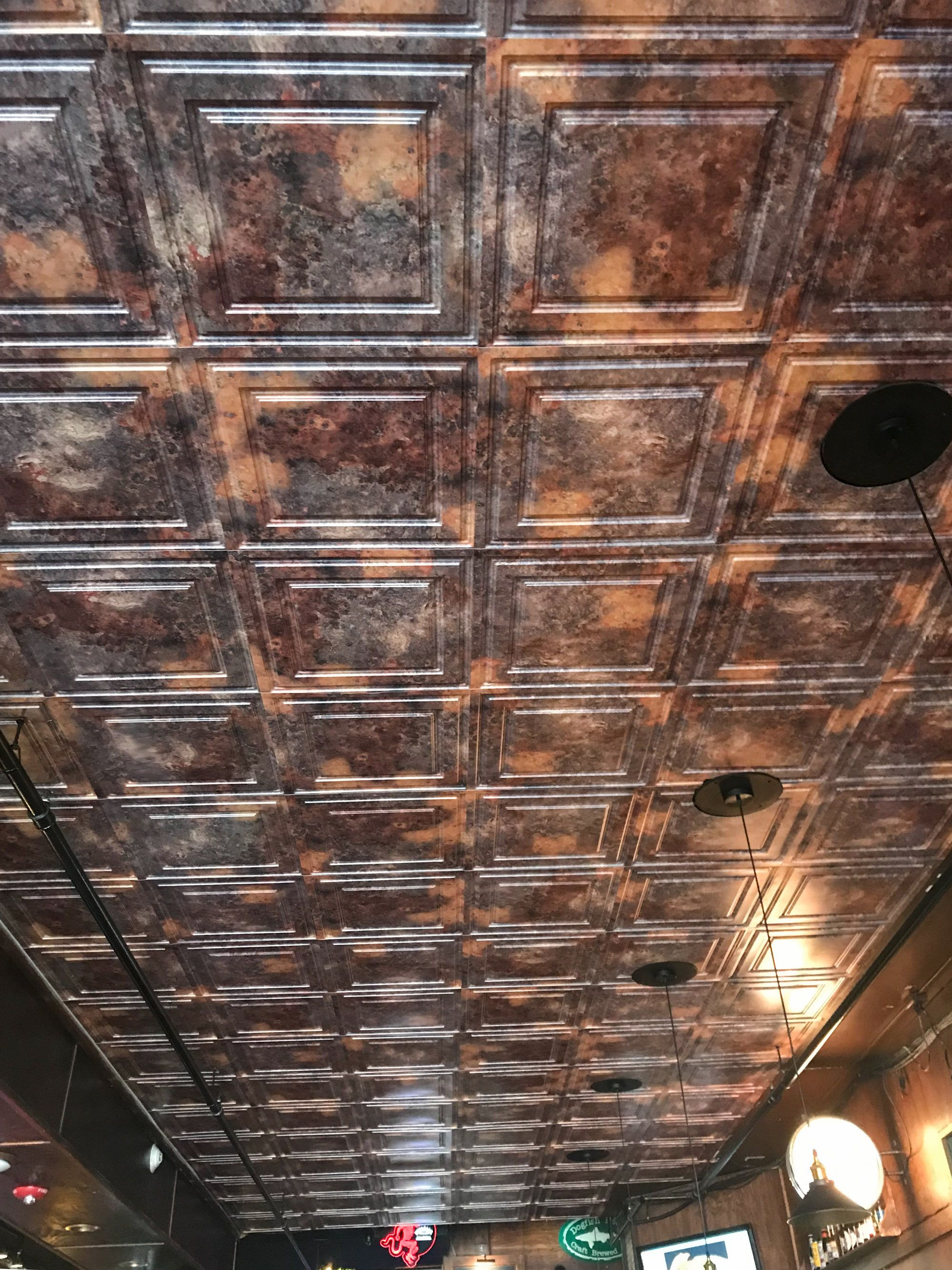 Dropped Ceiling I Wallpapered The Old Ceiling Tiles I Covered