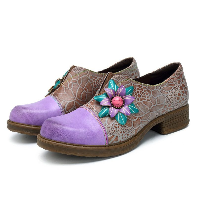 SOCOFY Handmade Violet Flower Splicing