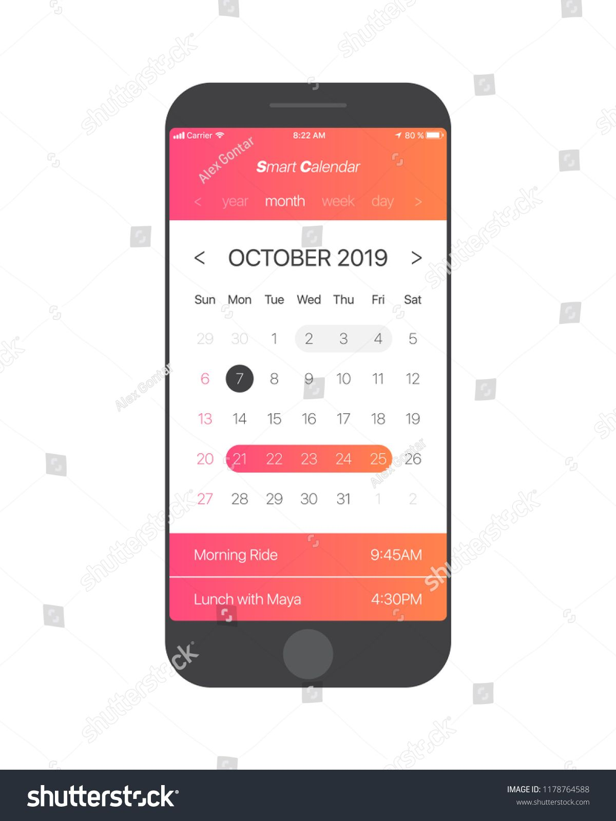 Calendar 2019 App IPhone Apple IOs and Android Smart Calendar App Concept October