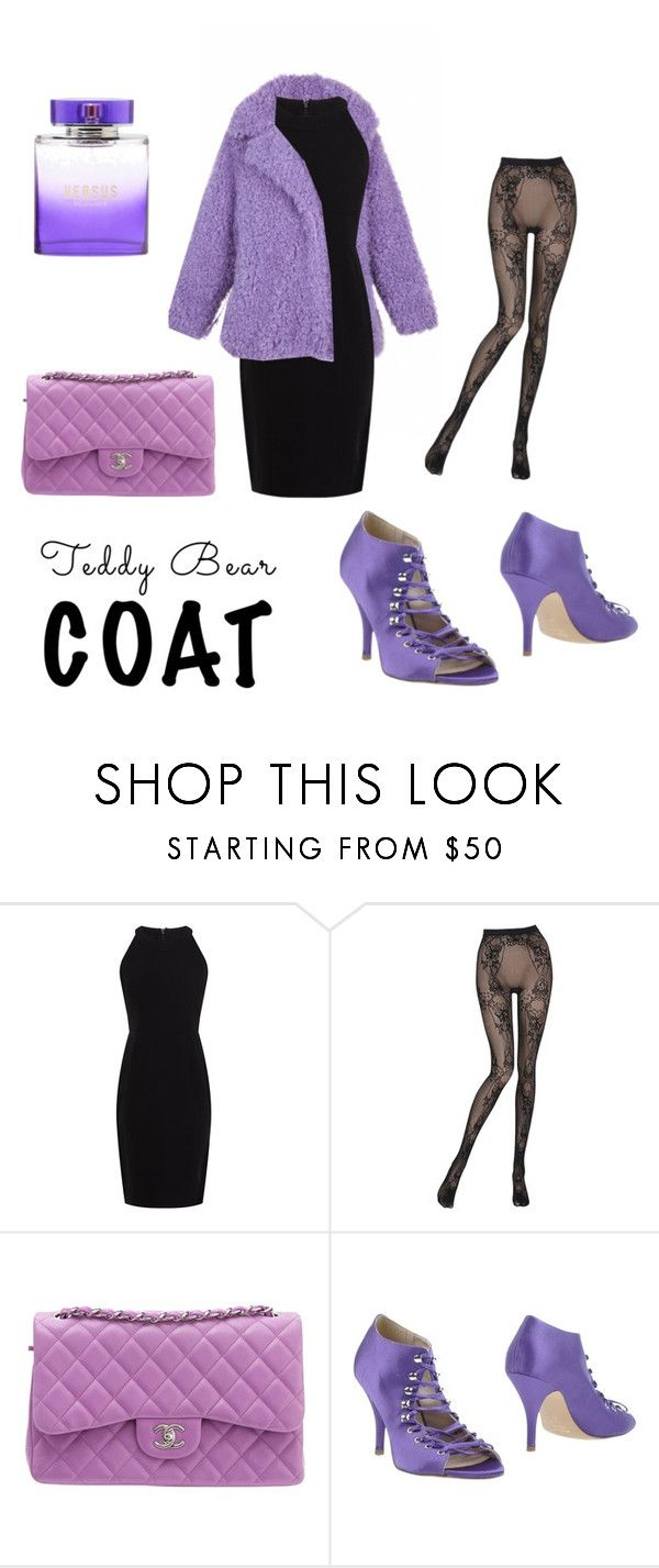 """""""violet coat"""" by chiara-hahaha ❤ liked on Polyvore featuring Karen Millen, Wolford, Chanel and Miss Sixty"""