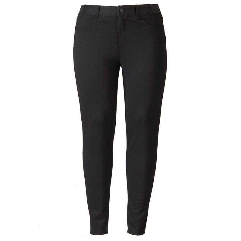 Plus Size Simply Vera Vera Wang Ponte Pants, Women's, Size: 0X Short, Black