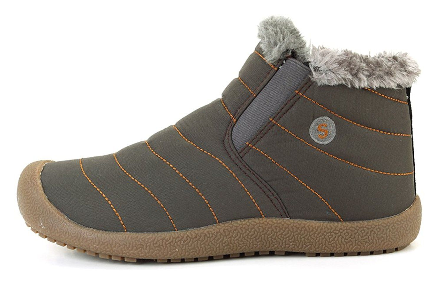 0bdbb8c7fc3118 MOHEM Mens High Top Waterproof Winter Outdoor Slippers Anti-Slip Snow Boots  With Fully Fur Lined -- Check out this great product.