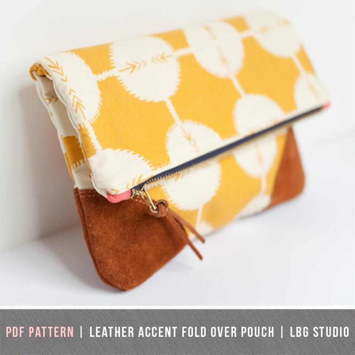 Leather Accent Fold Over Pouch   Craftsy