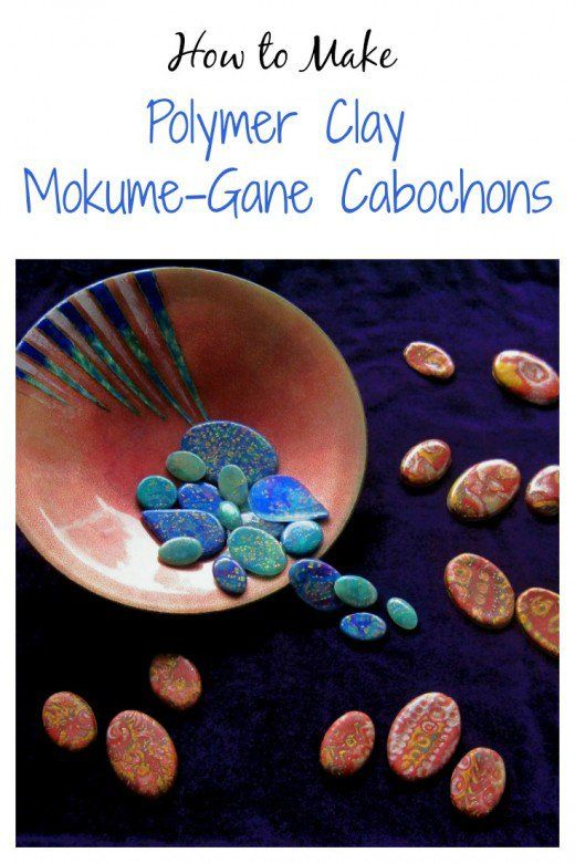 An assortment of polymer clay mokume-gane cabochons for jewelry making