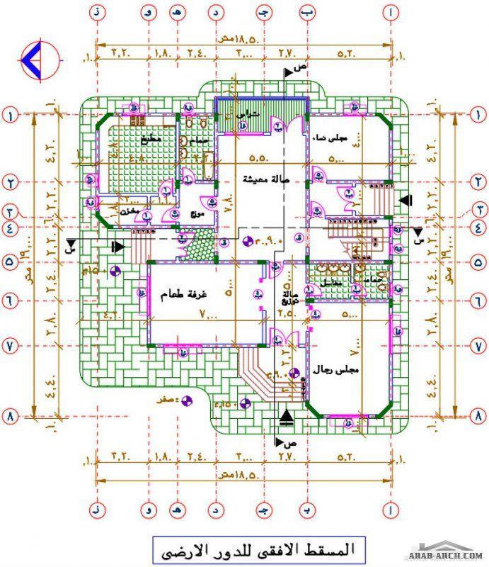 مشروع فيلا سكنية دورين كاملة الرسومات Victorian House Plans House Design Pictures Square House Plans