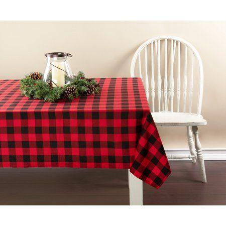Holiday Time 60 X 102 Buffalo Plaid Tablecloth Walmart Com Plaid Christmas Decor Christmas Table Cloth Plaid Tablecloth
