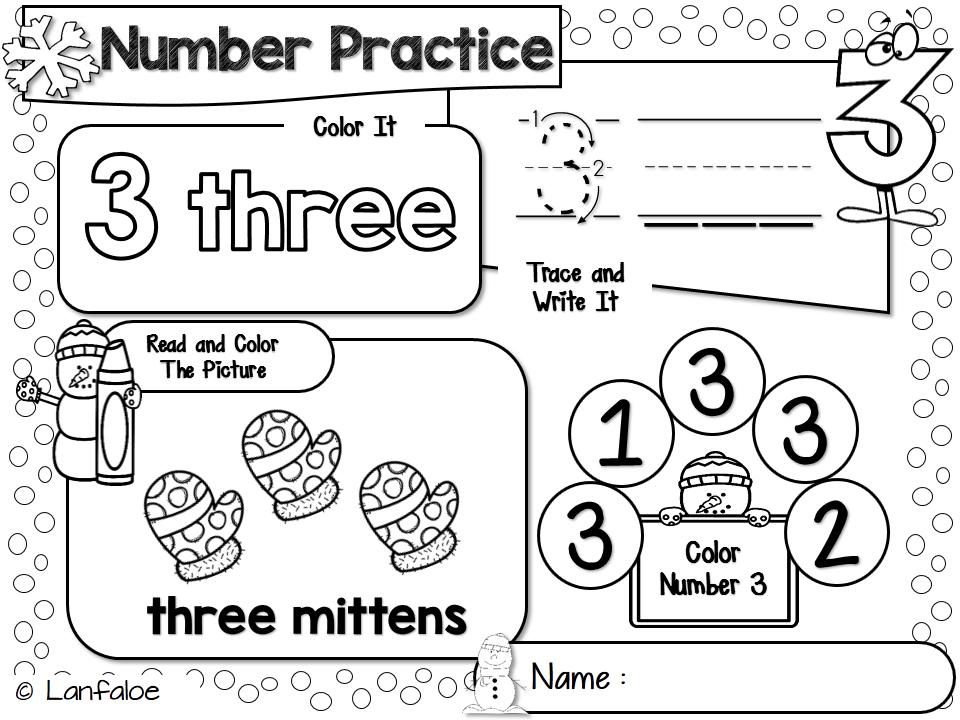 Number Worksheet 1 20 Winter Activity Number Worksheets Winter