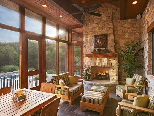 Casa estilo fazenda estar e lareira dream big for Texas ranch piani casa con portici