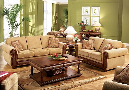 Cindy crawford key west tan 7pc classic living room our - Cheap living room furniture online ...
