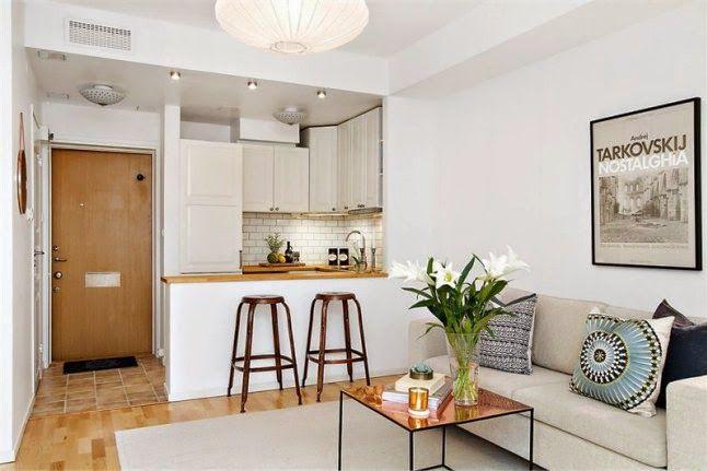 Peque o departamento barra cocina blanco y madera depto for Barras para departamentos pequenos