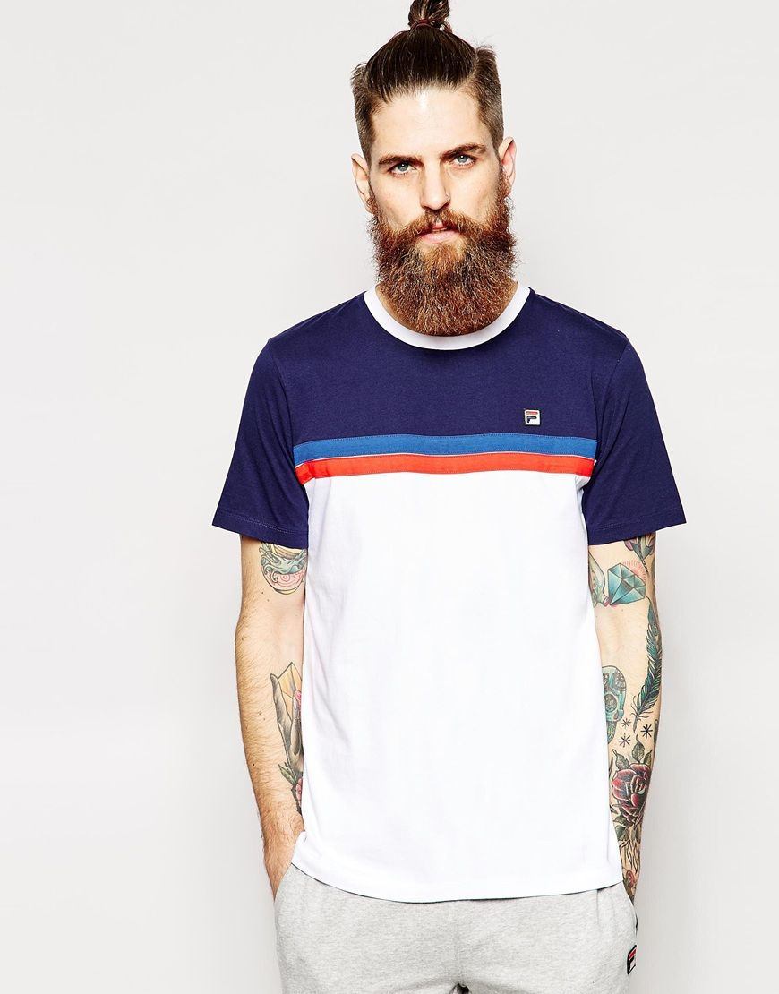 d7c4724fc3cb Fila Vintage T-Shirt With Chest Stripe | Fila | Fila vintage, Shirts ...