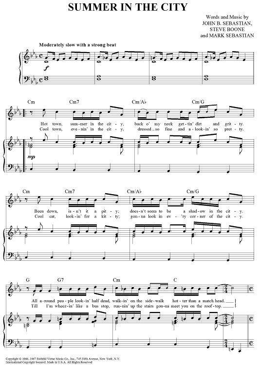 Summer In The City Sheet Music By The Lovin Spoonful Sheet Music