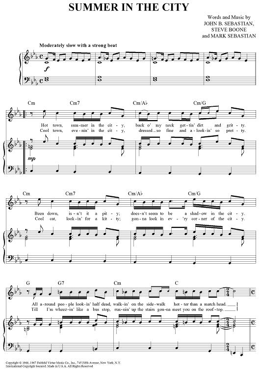 Summer In The City Music Lyrics Sheet Music Digital Sheet Music