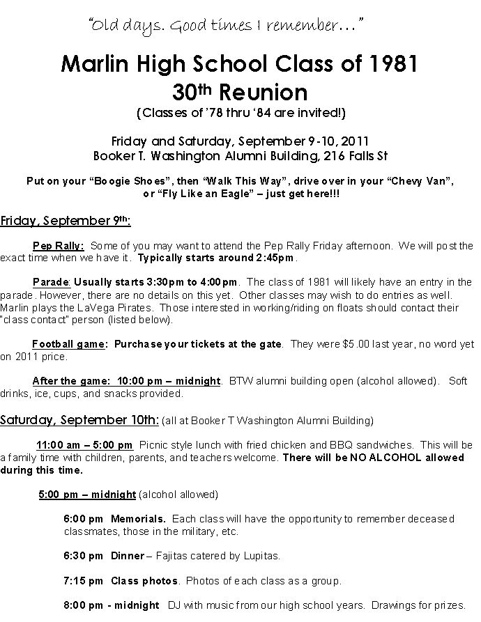 Mhs Class Of   Th Reunion InvitationInfo Registration