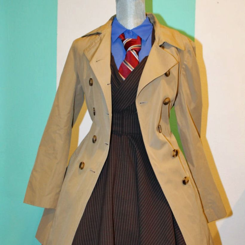 David Tennant Tenth Doctor Brown Pinstripe Suit Who Cosplay Dress Pinafore Accessory | Darling Army