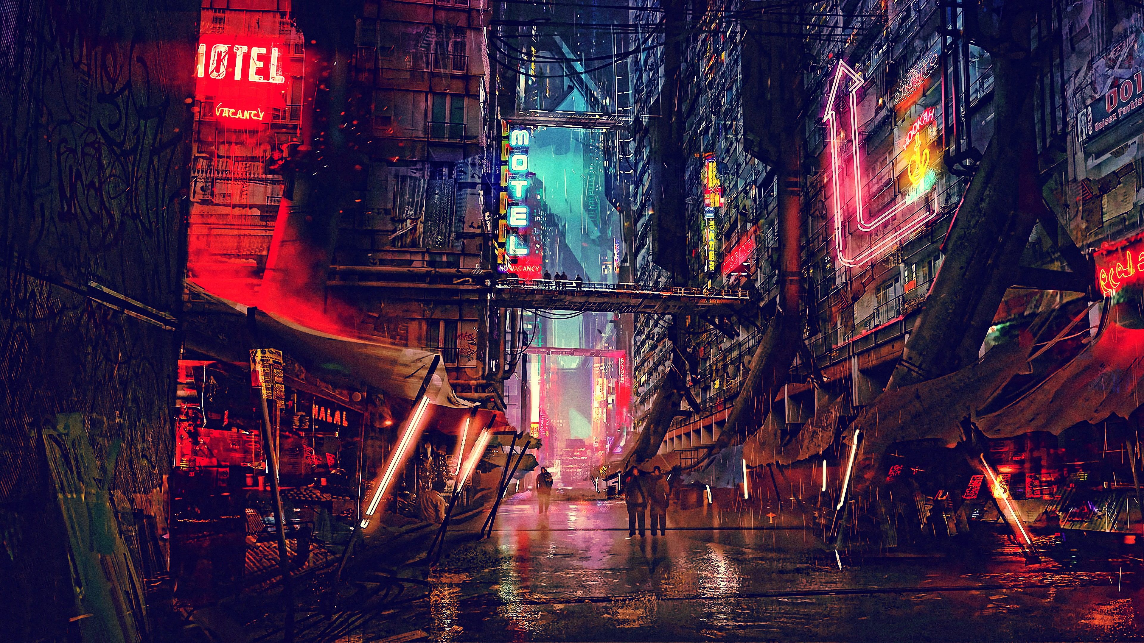 Street Art Artwork Digital Art Futuristic City Darkness Science Fiction Scifi Cyberpunk City Night Futuristic City City Wallpaper Building Illustration