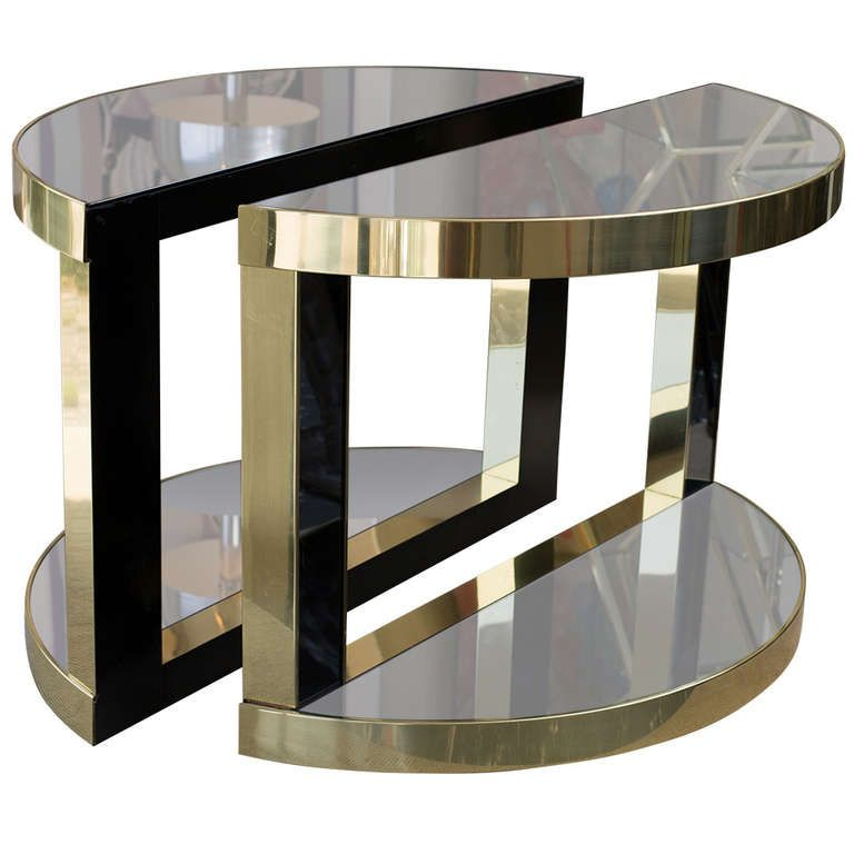 Romeo Rega Style Brass And Glass Console Tables From A Unique