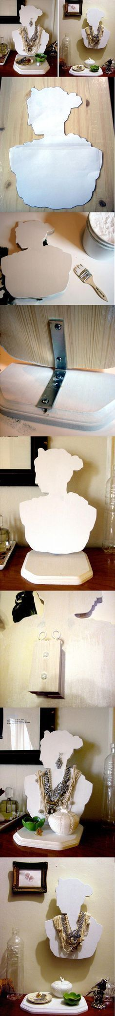 Trace a silhouette onto a board, cut it and make your own jewelry stand! Hmmmm...if you didn't have access to special tools, couldn't you cut 3 layers of thick cardboard, stack and glue them? This would make them sturdy enough! Then you could decoupage the finished product....