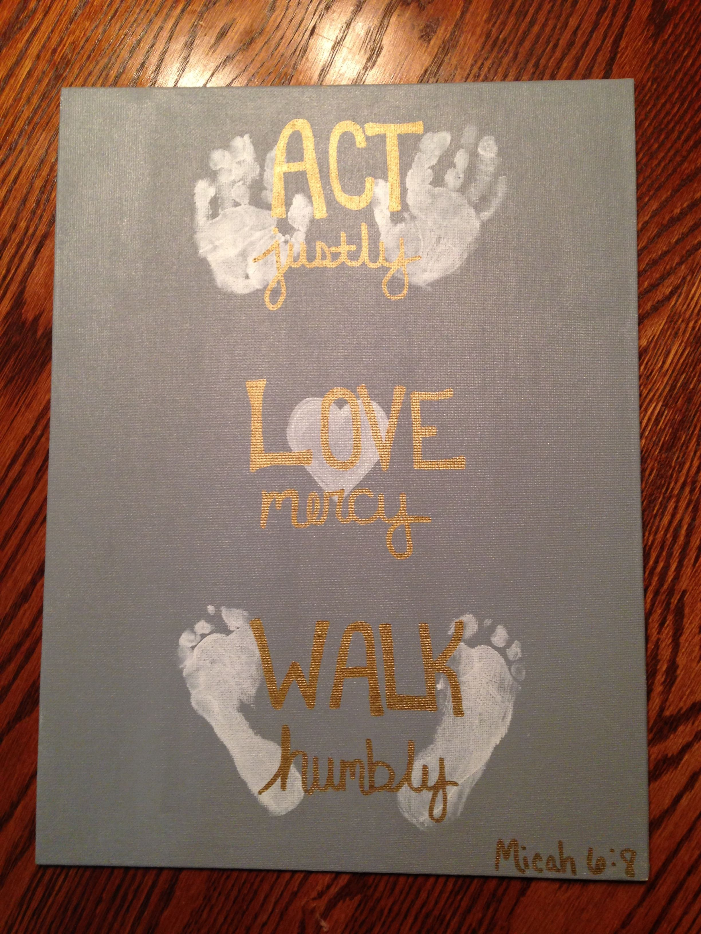 Baby Footprint Handprint Art The grandparents loved this for