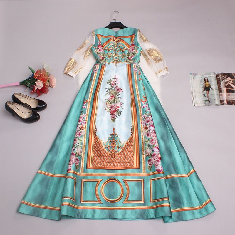 Luxury Dress 2016 Spring Summer Women New Casual 3/4 Sleeve Vintage Flower Print Floor-Length Empire Sequin Long Dress