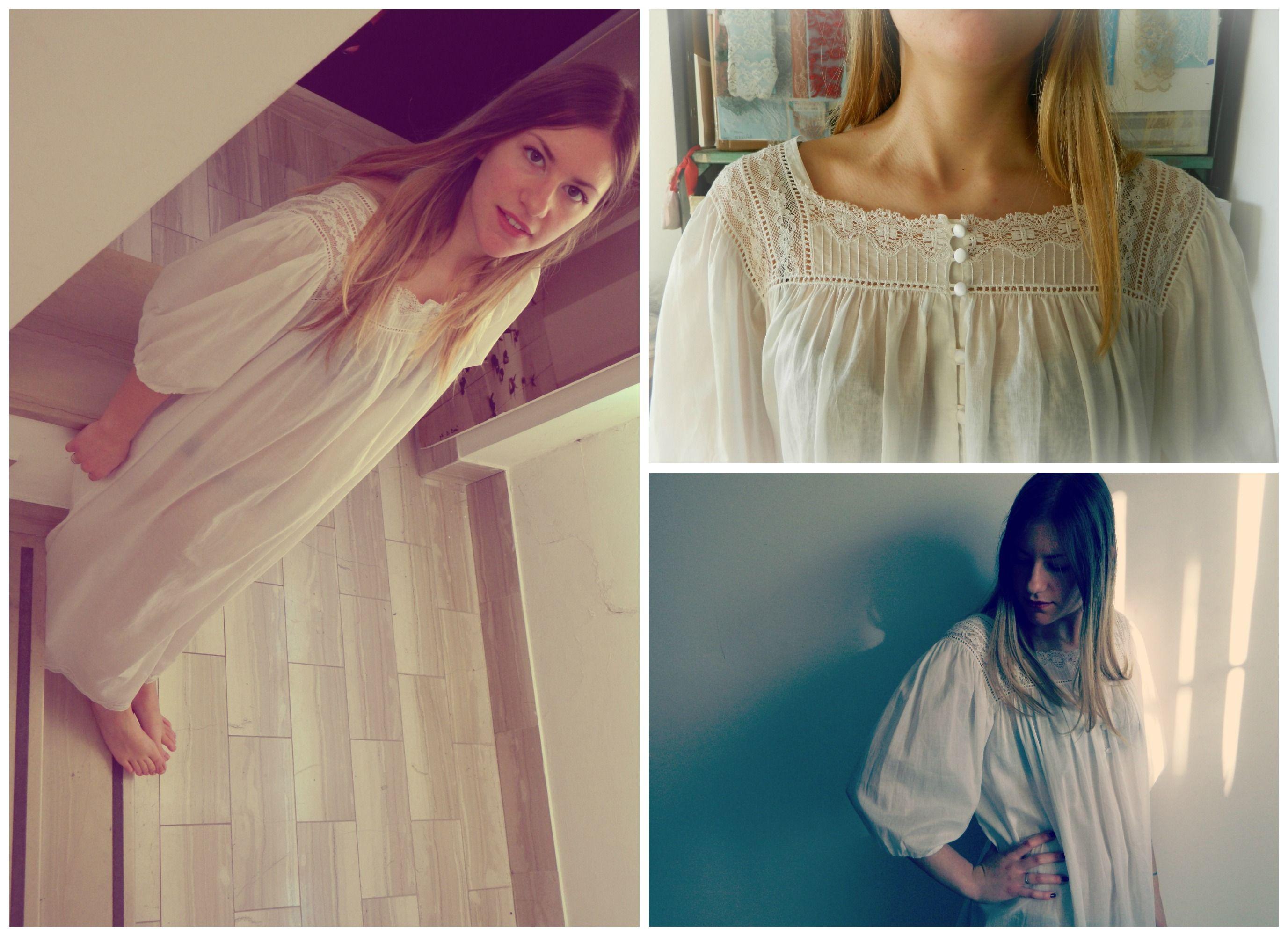 Camicia da Notte bianca handmade in Italy 100% cotone pezzo unico. Taglia unica http://www.annabyheart.it/product-category/lingerie/