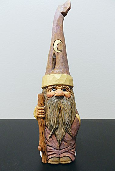 A carved wizard by Marvin Daniels a Woodcarving instructor at the John C. Campbell Folk School | folkschool.org (Photo by Marvin Daniels).