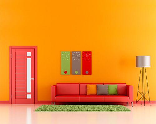 Color schemes for orange walls orange walls colorful for Orange walls living room designs