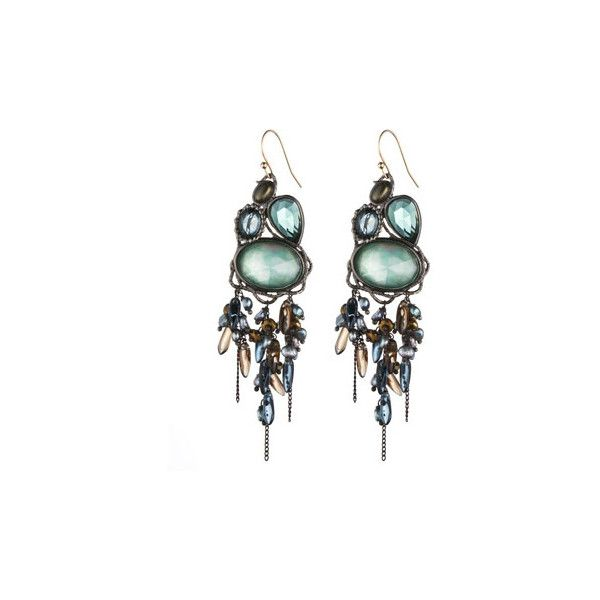 Gunmetal Large Tourmaline Hydroqz Chandelier Earring 11 195 Inr Liked On Polyvore Featuring Jewelry