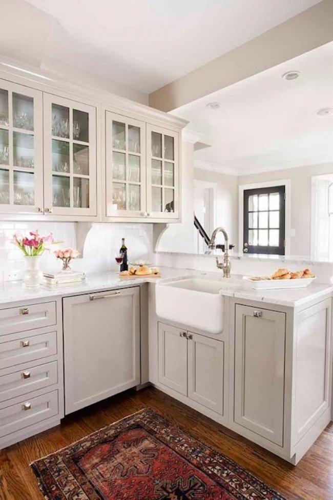 Inspiring L Shape Kitchen With Farmhouse Sink Ideas