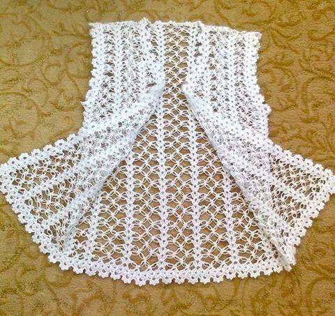Beyaz tığ işi örgü bayan yelek #crochetsweaterpatternwomen