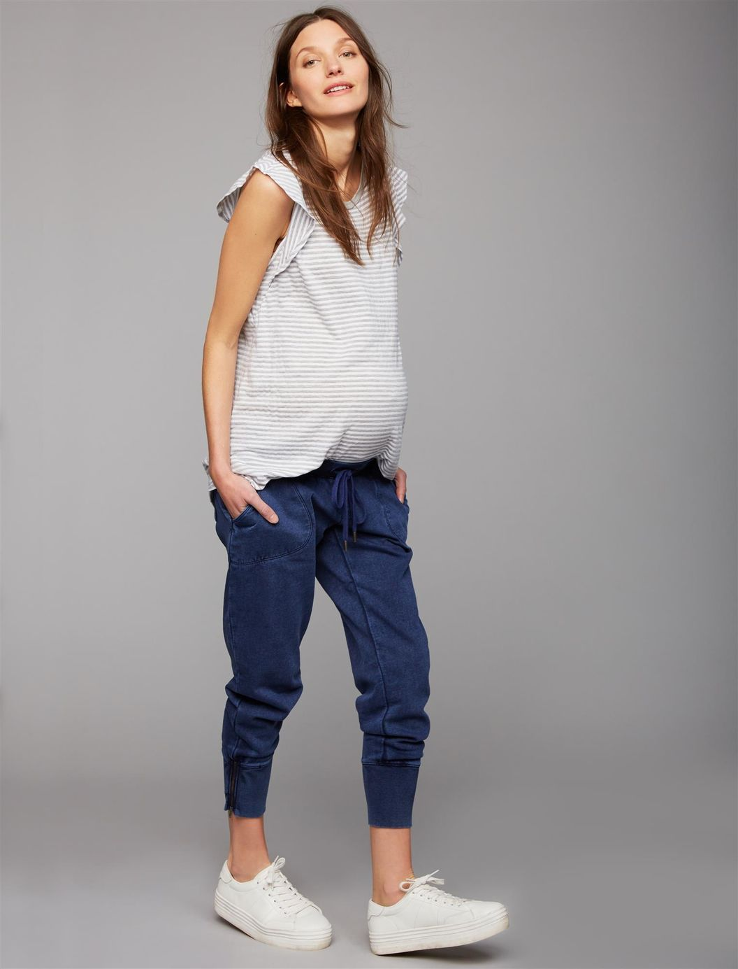 5dfbb51e53dfd Under Belly French Terry Zip Detail Maternity Jogger Pant | A Pea in the Pod  Maternity
