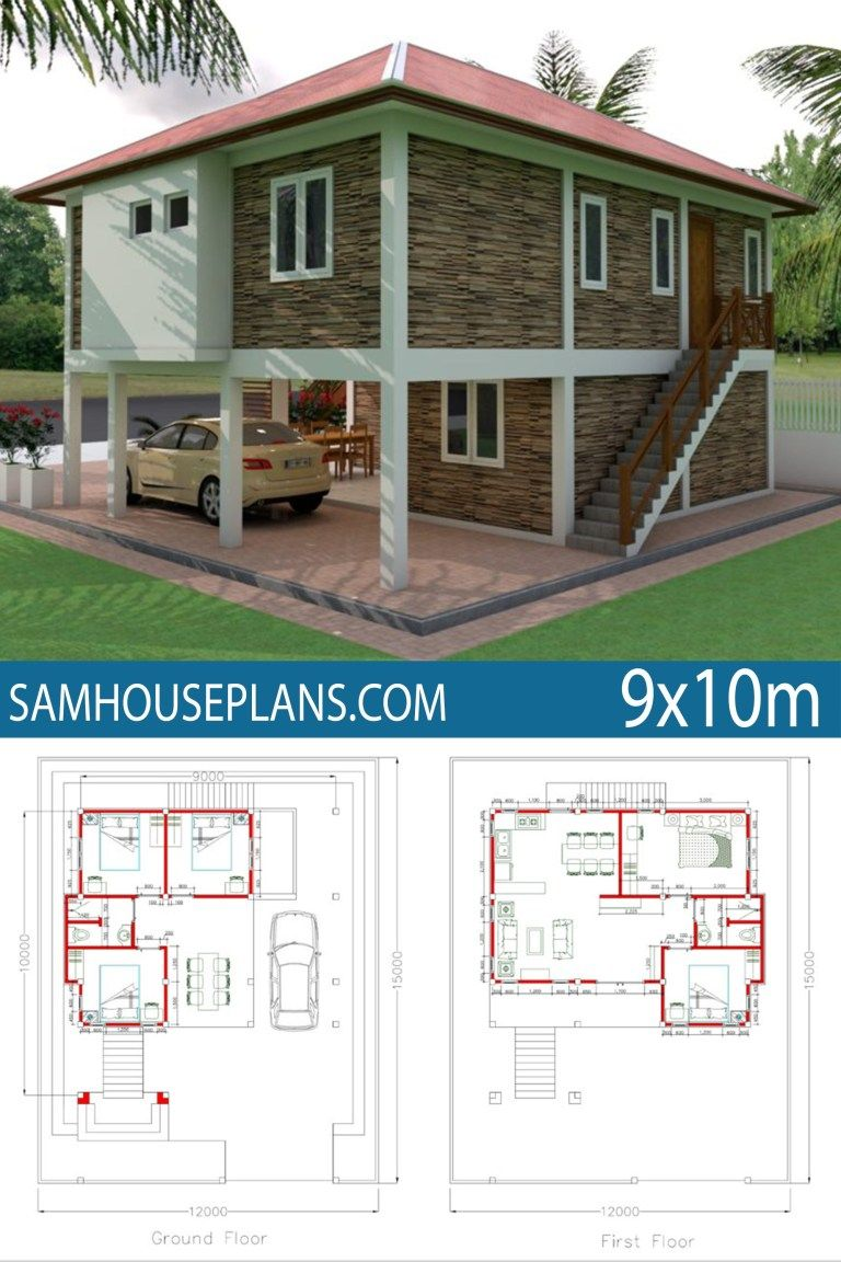 Home Design Plan 9x10m 5 Bedrooms Sam House Plans Model House