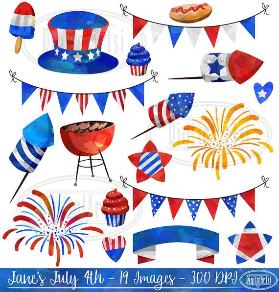 4th of july watercolor. Th clipart cute fourth