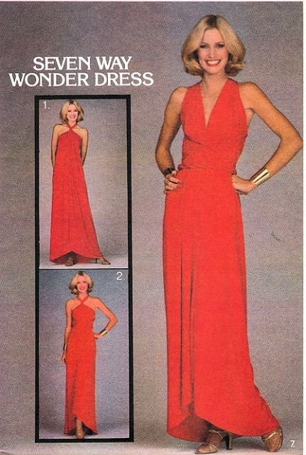 1970s Evening Wrap n Tie Evening Gown Maxi Dress Pattern SEVEN WAY ...