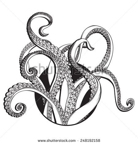Vector Black and white line drawing of Tentacles Line drawing