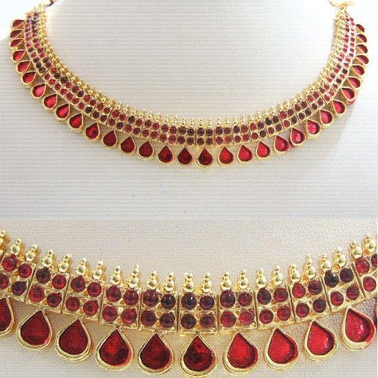 Buy Kerala Necklace Design Short Choker Green Maroon enamel Online