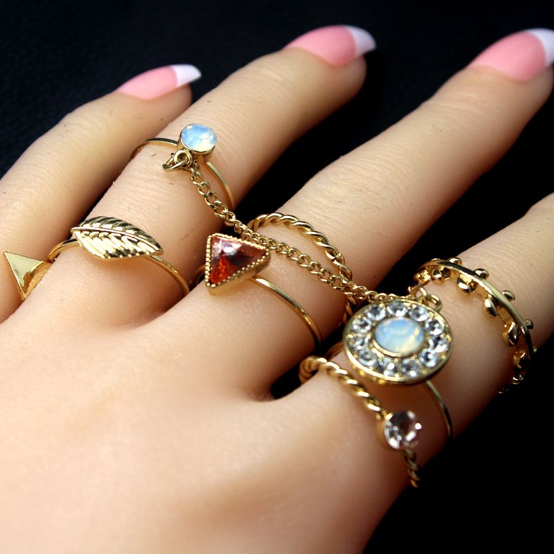 8 pcs/set Fashion Jewelry Gold Color Flower Midi Ring Sets For Women Girl  Vintage