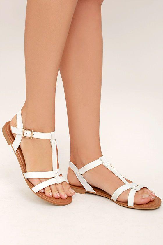 Nia White Flat Sandals