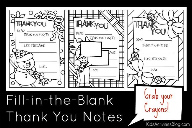 Christmas Printable Fill In The Blank Thank You Cards Christmas Printables Printables Kids Christmas Thank You