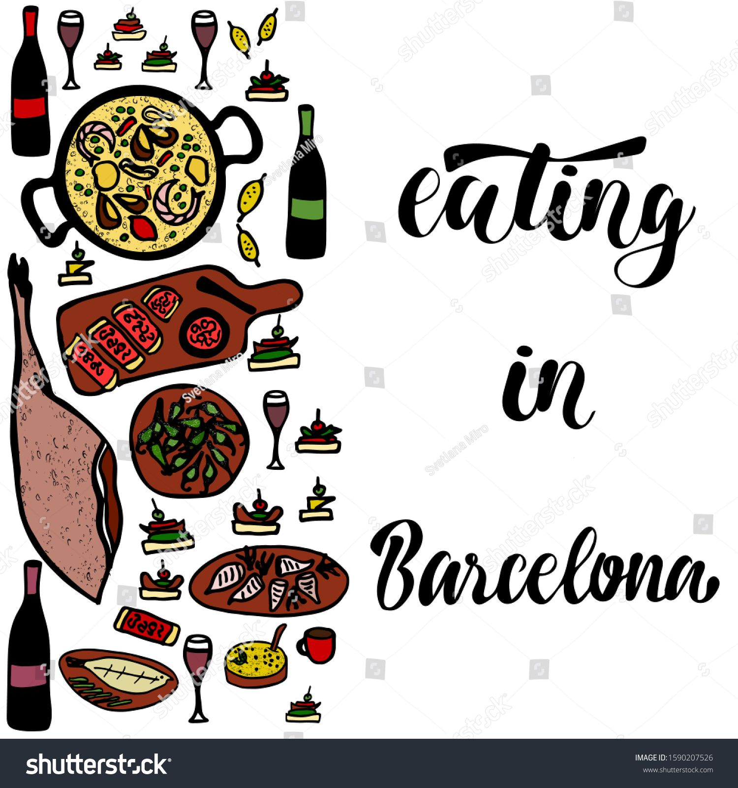 Vector Illustration Of Words Eating In Barcelona With