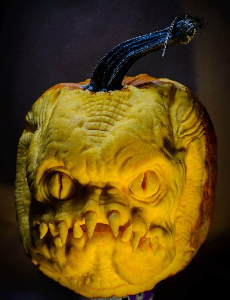 Gillman pumpkin sculpture 2017 #pumpkincarving #pumpkinsculpting #pumpkinsculpt #MetamorphFx