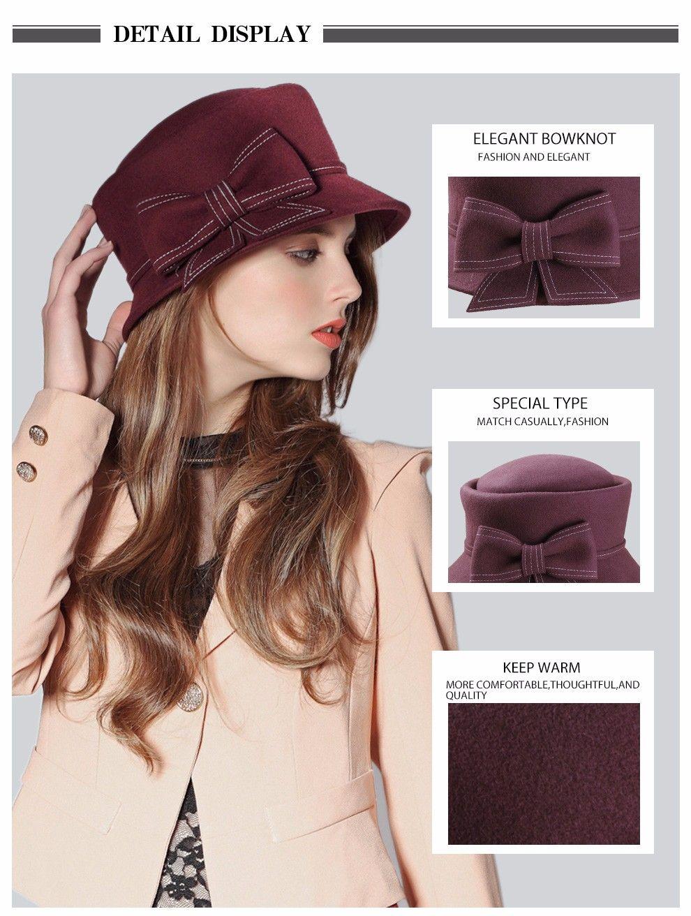 97497f42c155f 100% Australian Wool Fedora Hat bowknot Noble Bowler Hats For Women Wide  Brim Formal Church Cloche Hat FW149001B